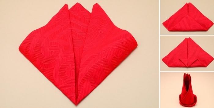 exemple comment faire une déco de table avec pliage origami, idée pliage serviette nouvel an en tissu rouge