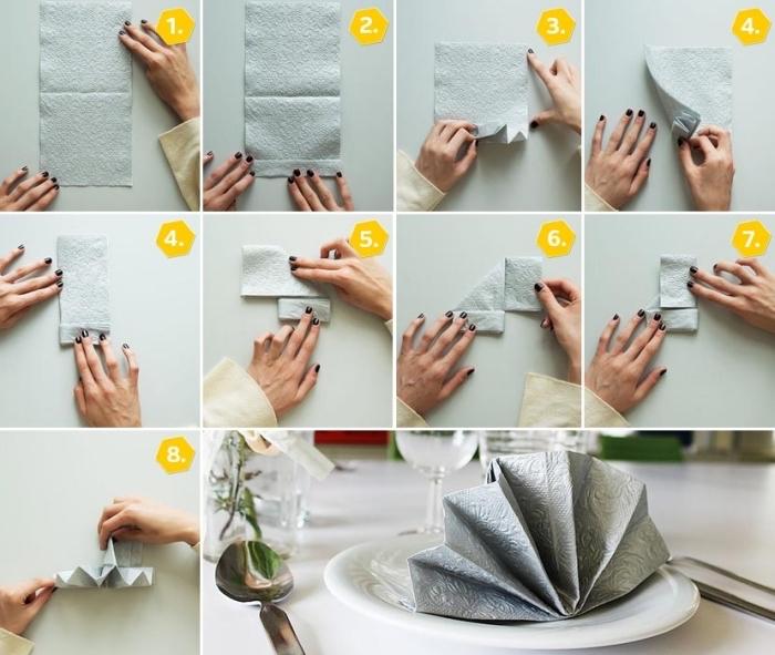 instructions en photo pour apprendre à plier une serviette facile, tuto pliage serviette papier facile, modèle de serviette argentée