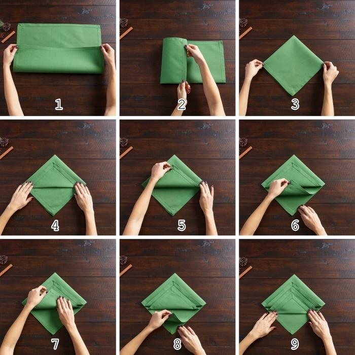 apprendre à plier une serviette en tissu en forme de sapin, activité manuelle Noel avec pliage de serviette facile