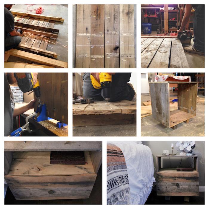 comment fabriquer une table de chevet palette soi meme en planches de bois démontées et réorganisées en meuble de nuit bois brut