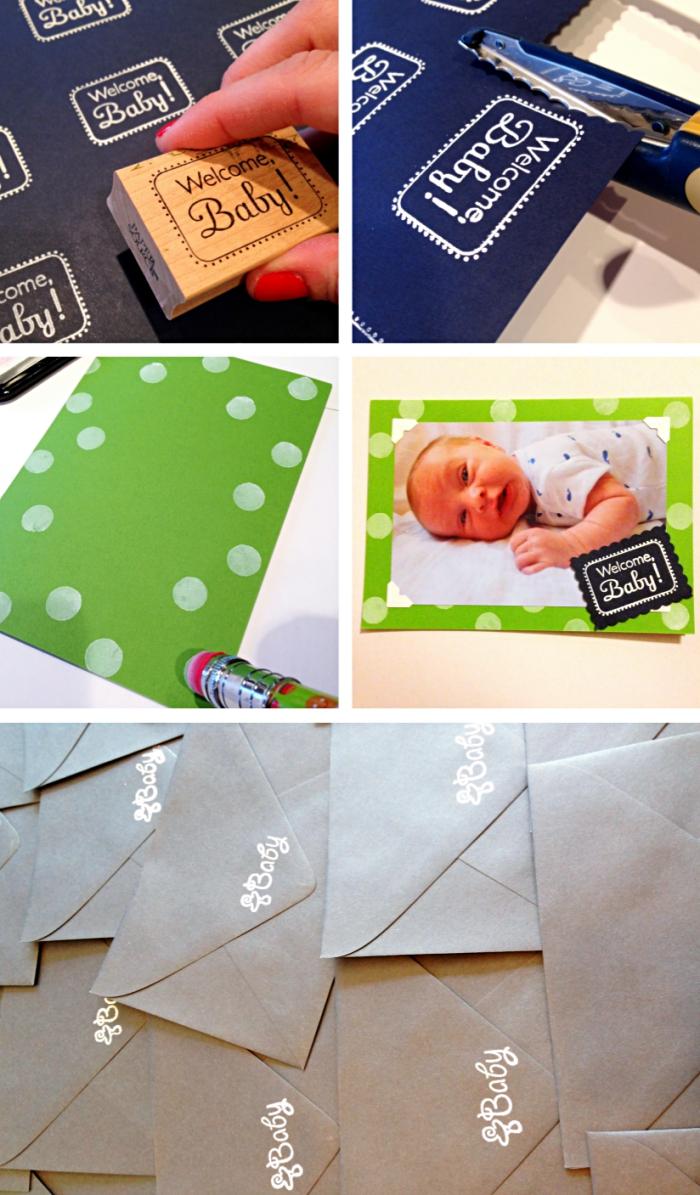 étapes à suivre pour fabriquer une carte annonce bébé facile, comment faire des petits timbres arrivée de bébé