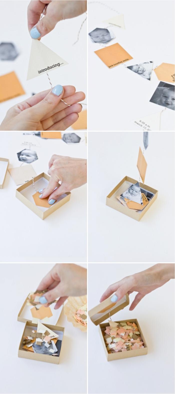 instructions pour réaliser une boîte surprise pour annoncer la naissance d'un bébé, modèle faire part naissance fille