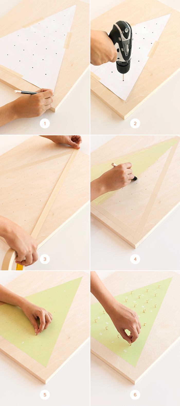 calendrier de l avent à faire soi même en panneau de bois avec dessin sapin de noel à petits crochets pour suspendre cadeaux avent