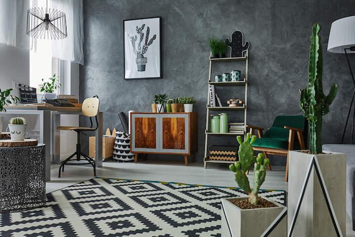 deco originale, chambre aux murs gris anthracite, tapis noir et blanc, mobilier bois industriel, plusieurs cactus en pot, plantes vertes d intérieur photos, deco cactus