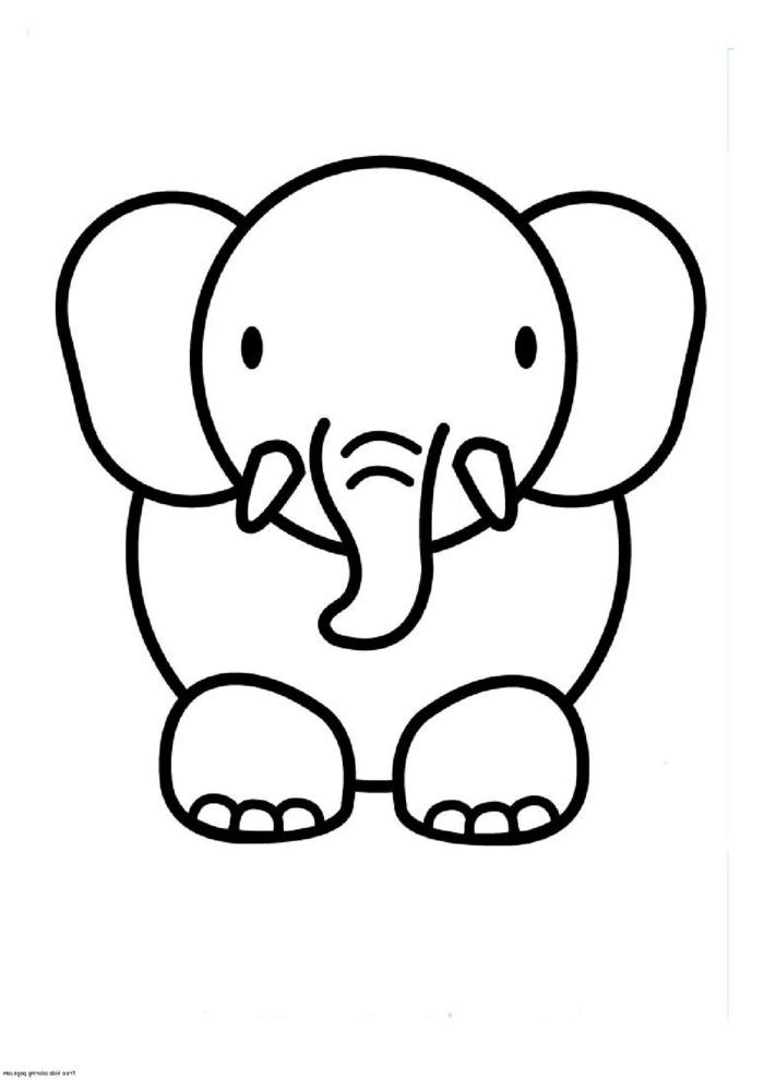 Adorable éléphant idée de de dessins facile à faire, dessin facile a reproduire, image simple lignes