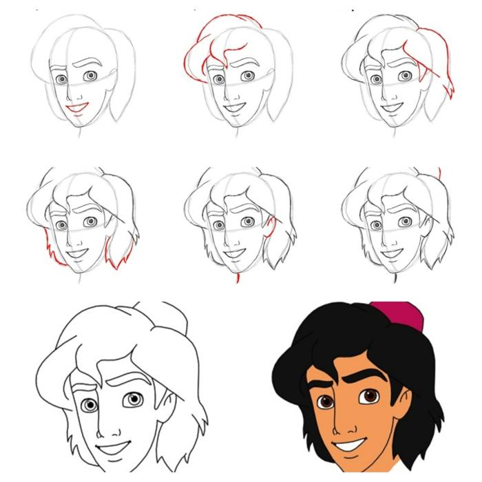 Beau dessin facile a faire Aladdin, dessins facile à faire, simplicité pour tout le monde tête d'Alladdin