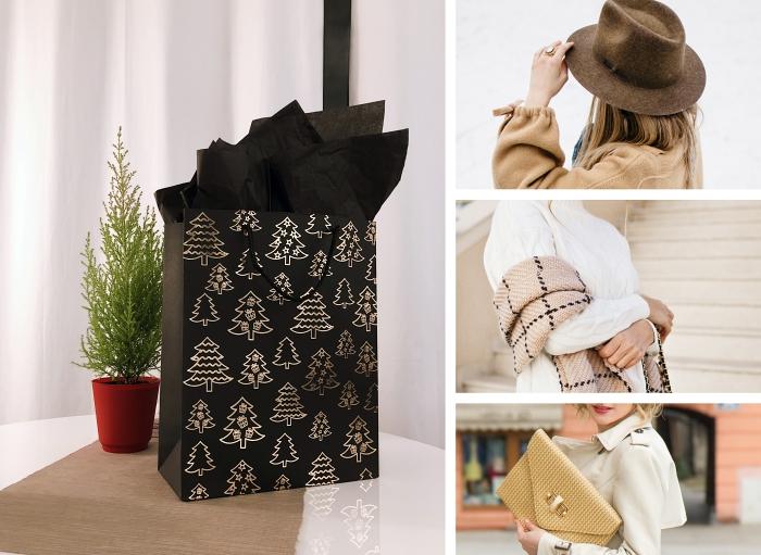 sac à papier noel en noir et or, idee cadeau noel femme, sac de soirée en or, accessoires capeline et écharpe pour femme, modèle pochette dorée