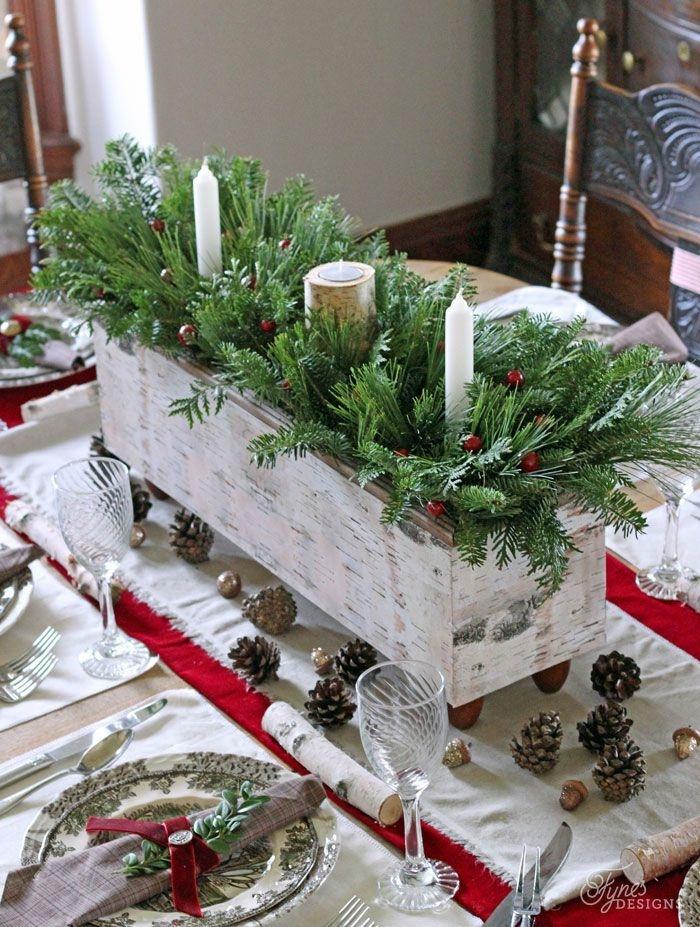 activit s manuelles noel table en rouge et blanc caisson en bois peint blanc branches de pin bougies blanches assiettes en gris et blanc e1541586191906
