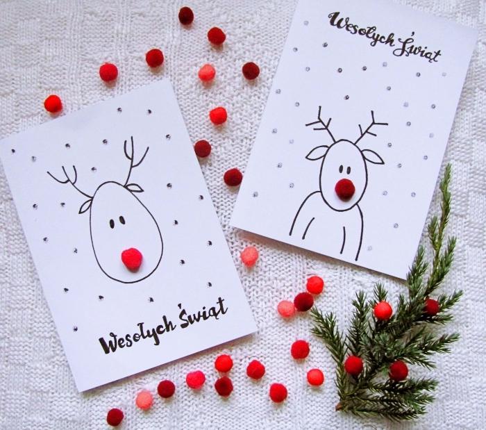 exemple de carte vierge à personnaliser, dessin facile à faire sur une carte Noel, modele de carte de voeux pour enfants