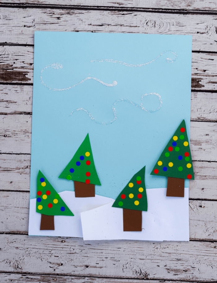 bricolage noel maternell, modèle de carte joyeux noel fait main, exemple activité noel pour enfants avec papier