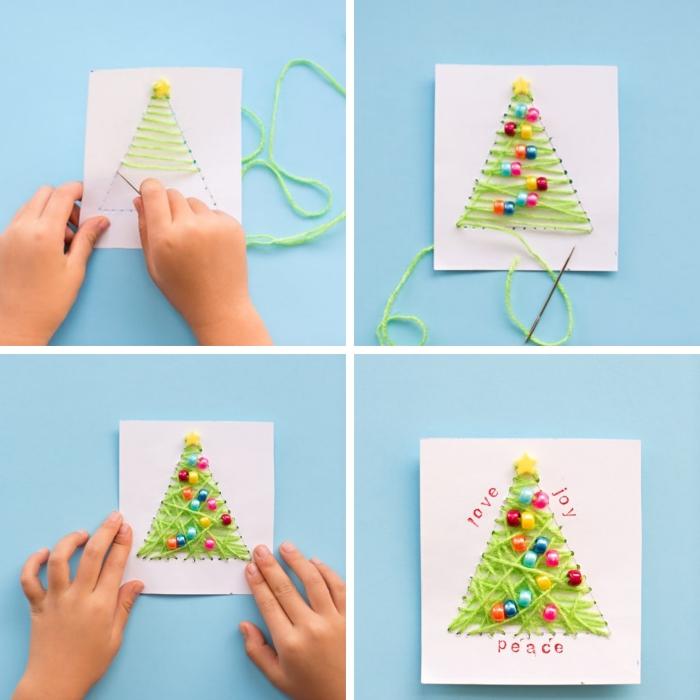 bricolage noel maternelle, carte postale DIY facile avec décoration sapin de Noel en fil vert et perles colorées, technique broderie facile sur papier