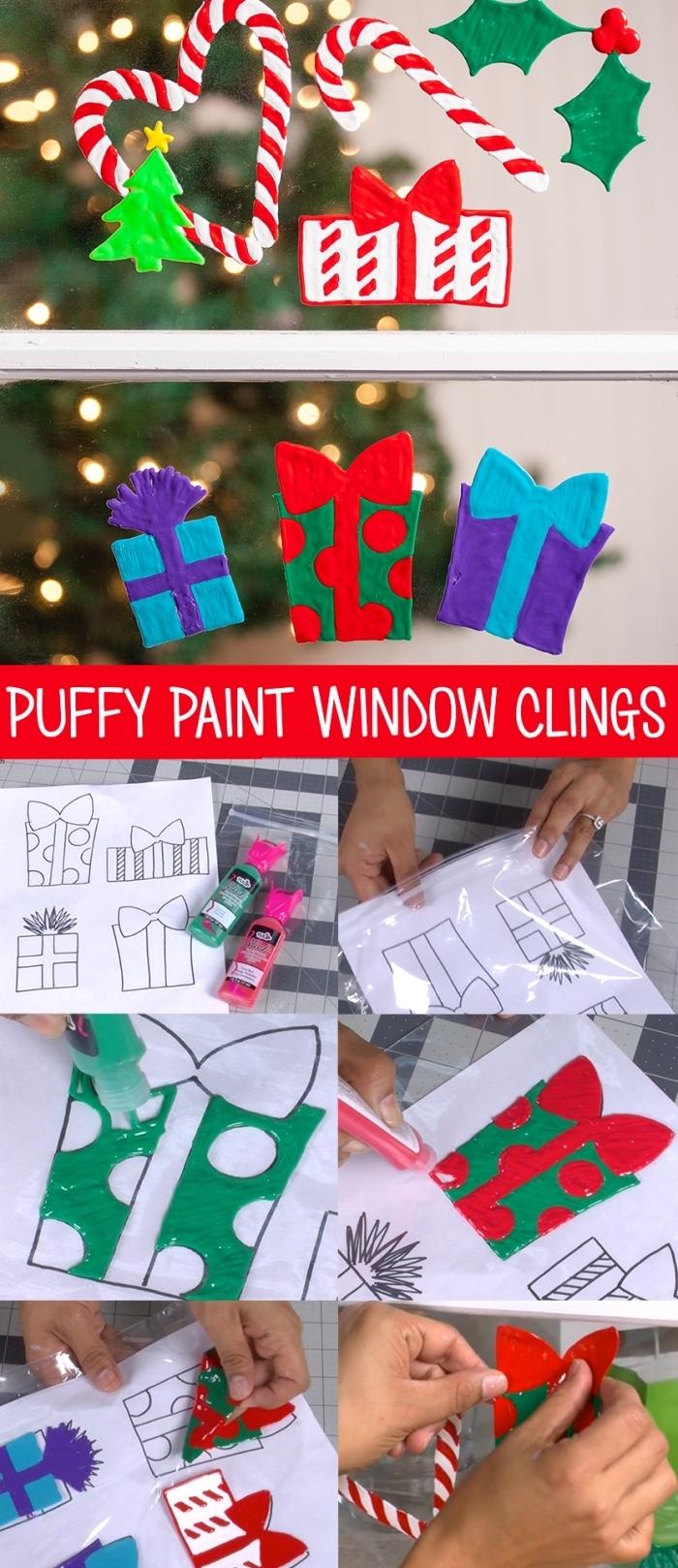 des motifs de noël en peinture à relief réalisés à l'aide des pages à colorier, à coller sur les vitres, deco de noel a faire soi meme