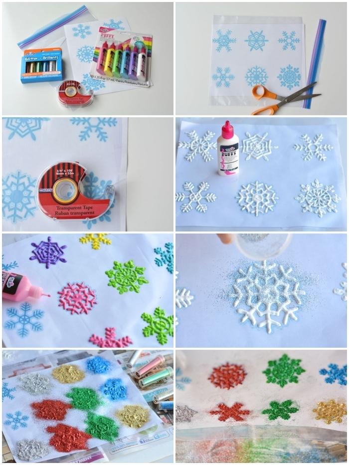 idée d'activité manuelle noel amusant pour enfants, comment faire des flocons de neige autocollants