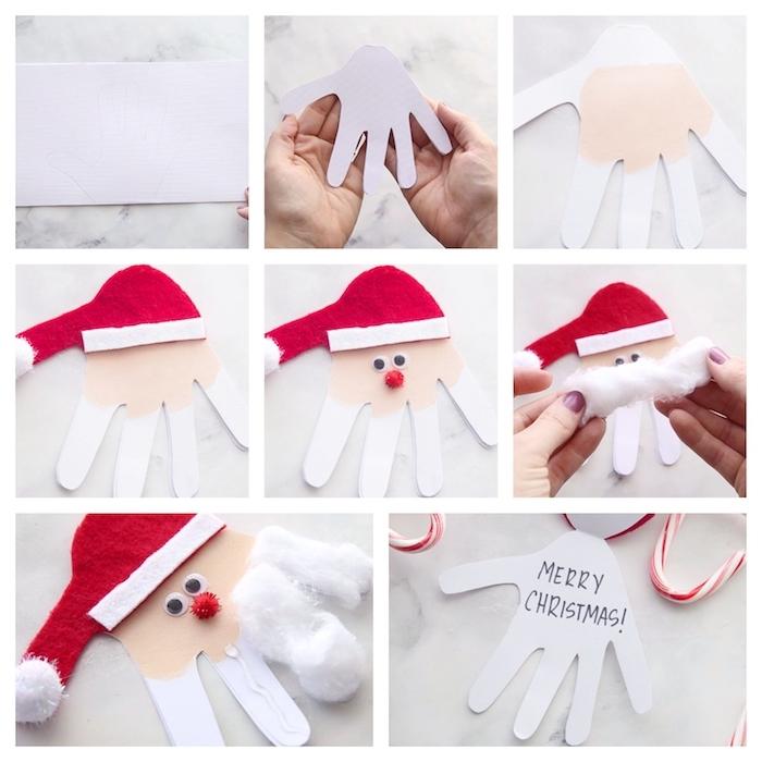 exemple de deco noel fait main, carte de noel en empreinte de main avec chapeau en feutrine blanc et rouge, pompons et des yeux mobiles