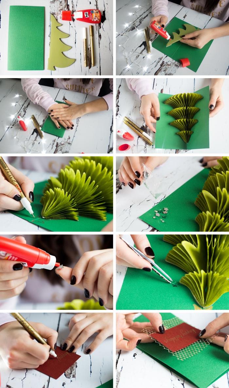 étapes pour faire une carte de Noel pop up, tutoriel carte de noel scrapbooking, feuille de papier vert décorée avec étoiles scrapbooking et sapin origami