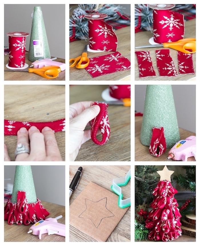idee originale de sapin de noel vert à décoration de bandes de tissu rouges à motifs flacons de neige, fabriquer une deco de noel originale