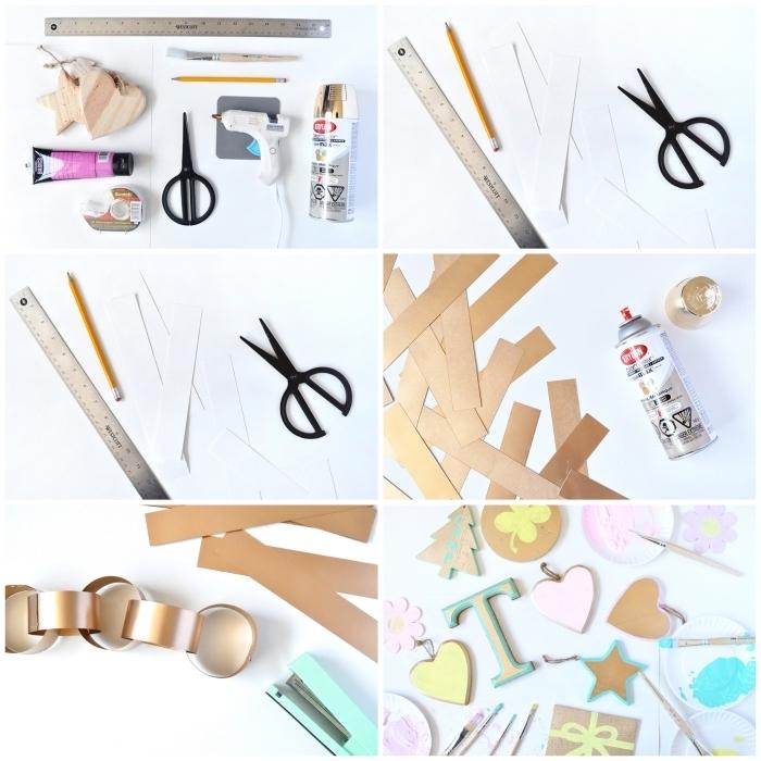 activités manuelles noel pour réaliser une déco simple et rapide en papier, guirlande d'anneaux en papier peint doré et d'ornements en bois
