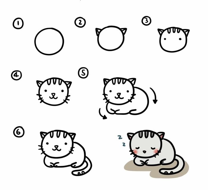 Dessin de chat mignon, dessin facile a faire, maitrise artistique apprendre le dessin pour enfant