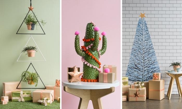 trois modèles de sapin original à faire soi-même, un cactus en carton façon arbre de noël, un sapin de noel suspendu à partir de suspensions de plante et un poster mural représentant un arbre de noël enneigé