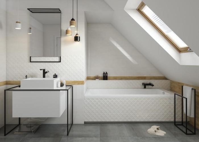 déco de style contemporaine dans une salle de bain sous pente, idée meuble salle de bain en blanc et noir mate