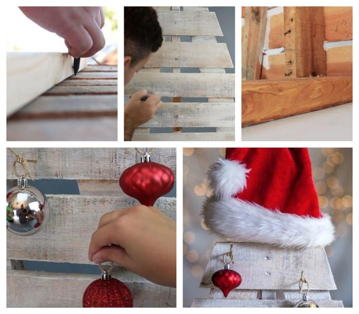 fabriquer un arbre en bois de palette, boules pendantes rouges et argentées, palette en bois découpée