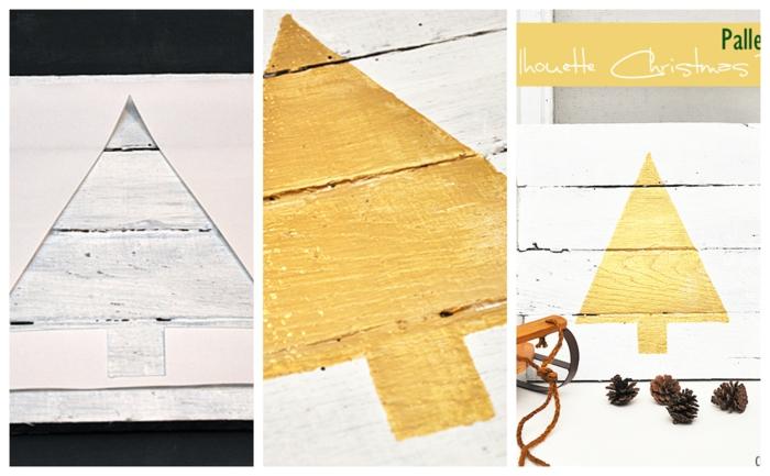 petit sapin jaune imprimé à une palette blanche, sapin au pochoir sur palette, pommes de pin, objets déco