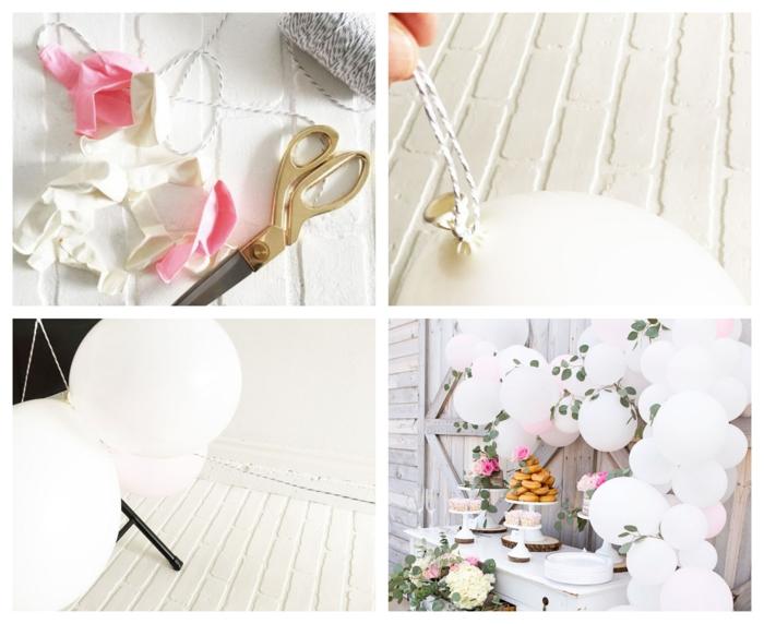 arche de ballon blancs liés à une ficelle, ciseaux, ballons aux feuilles d'eucalyptus, gateau cupcake