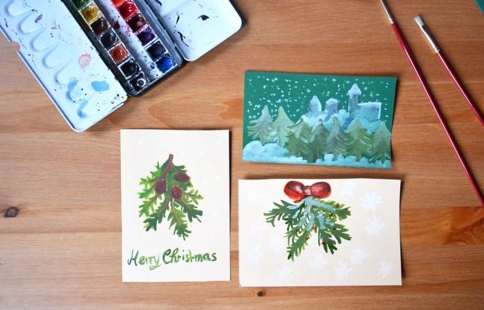 quels motifs de Noel dessiner sur une carte vierge, exemple de carte DIY facile pour enfants, diy activité manuelle Noël