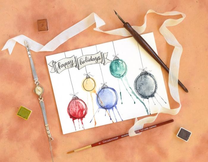 carte de noel a fabriquer facile, modèle de papier kraft blanc avec dessins faciles, exemple carte diy aux motifs aquarelles et message bonnes fêtes