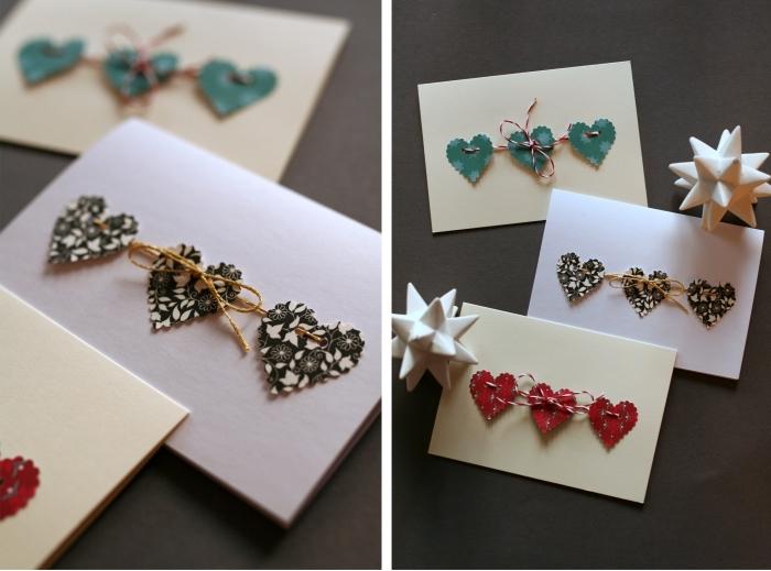 idée facile pour faire une carte postale diy, exemple d'activité manuelle noel avec papier, mini carte fait main en papier et coeurs en tissu