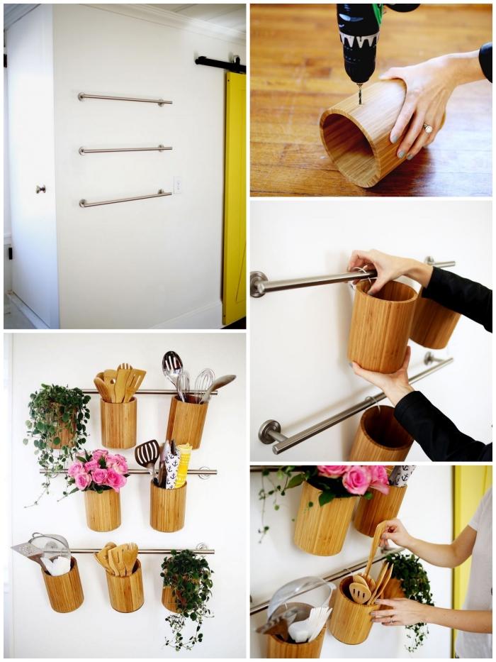 astuce pinterest pour réaliser un organiseur mural fonctionnelle avec des porte-serviettes muraux et des pote-ustensiles en bambou