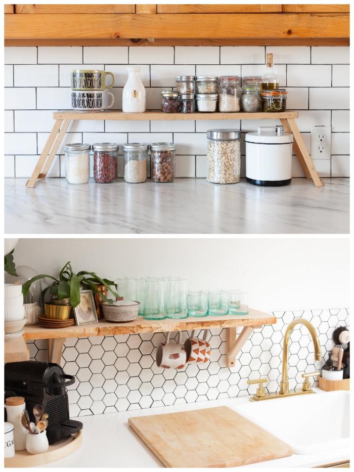 petite étagère murale ou sur pieds en bois qui permet de gagner de l'espace sur votre plan de travail cuisine et autour de l'évier, astuces d'organisation et de rangement pour l'amenagement petite cuisine fonctionnelle