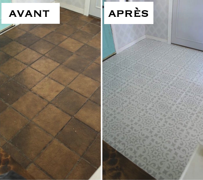 photo apres renovation de carrelage ancien marron repeint en blanc avec motifs gris au pochoir