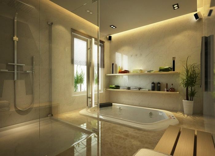 espace moderne en béton, plafond suspendu, baignoire enterrée, étagères murales, murs en béton, grande banquette en bois, douche à receveur plat