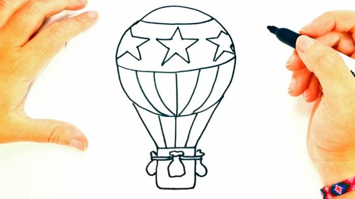 Chouette dessin facile a reproduire dessin facile a faire cours de dessin simple le balon a air chaud