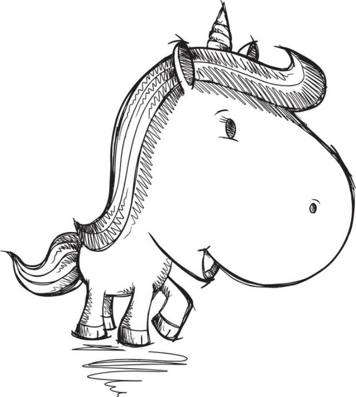 une bébé licorne avec une grande tête, une crinière rockabilly et une petite queue, dessin de licorne originale