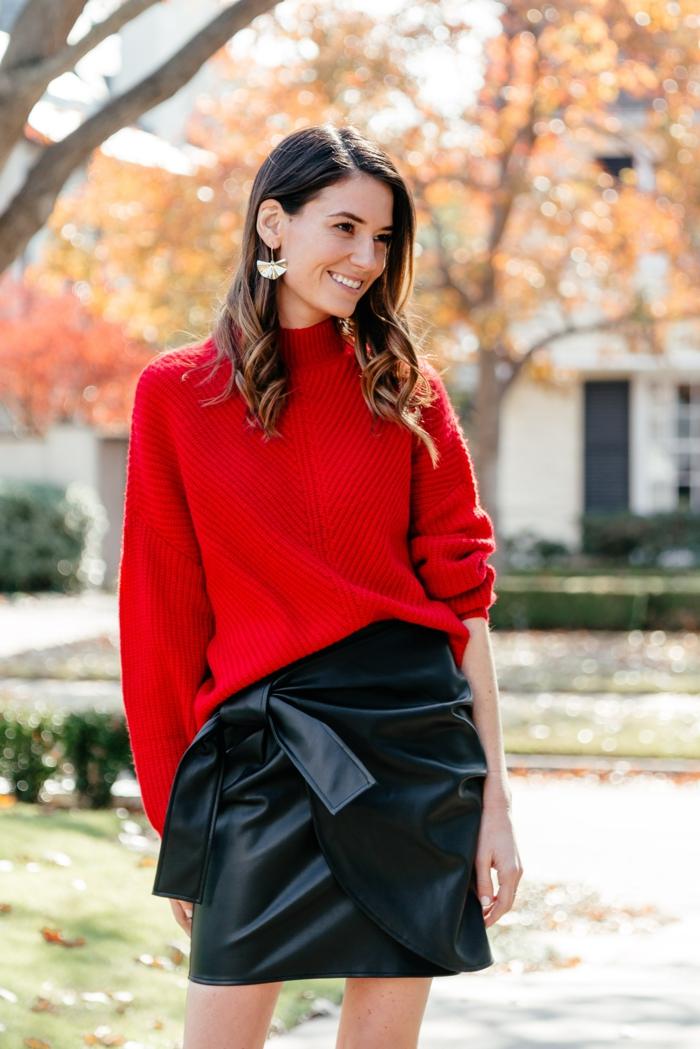 Tenue de noel femme, robe nouvel an en deux pièces de pull et jupe cuir courte, robe décontracté festive sans efforts