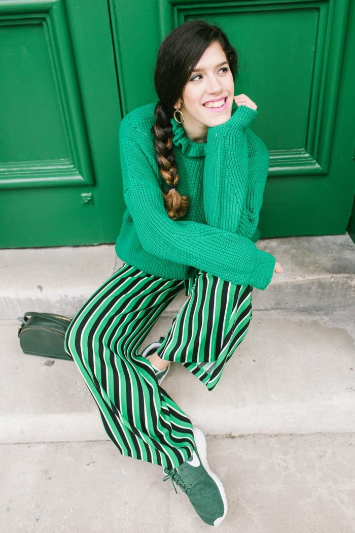 Pantalon et pull vert nouvel an tenue de noël pour femme idée quelle est la plus belle tenue