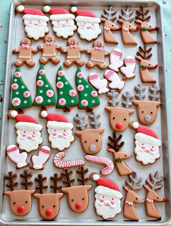 modèles de cookies pour noel faciles et rapides, exemple de gateau alsacien au beurre et gingembre avec glaçage