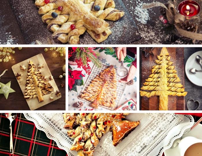 faire un sapin feuilleté saumon, modèle arbre de noel au nutelle et pâte, exemple comment décorer un dessert de noel facile
