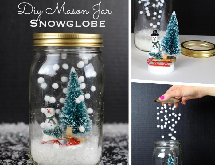 diy cadeau maman noel facile, modèle de boule à neige fait main, exemple de bocal en verre pour Noel à faire soi-même