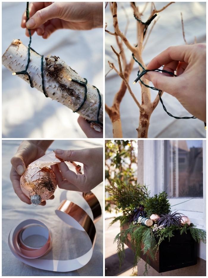 idee deco noel a faire soi meme pour décorer le rebord de la fenêtre extérieur, réaliser une composition végétale et lumineuse pour décorer le bac à fleurs pour l'hiver
