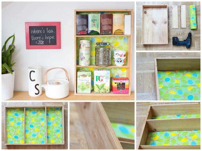 une caisse de vin recyclée en étagère de rangement pour les accessoires à thé, astuce pinterest pour aménager un coin thé ou café dans la cuisine