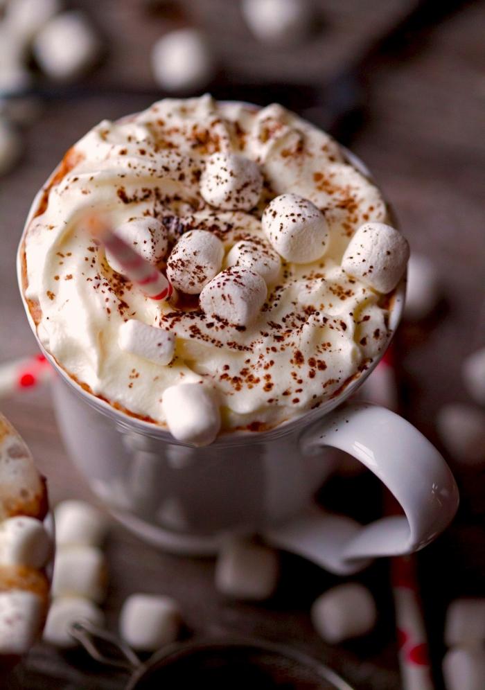 exemple de chocolat chaud romantique au chocolat fondu et crème fraîche, idée comment décorer une boisson chaude avec guimauves