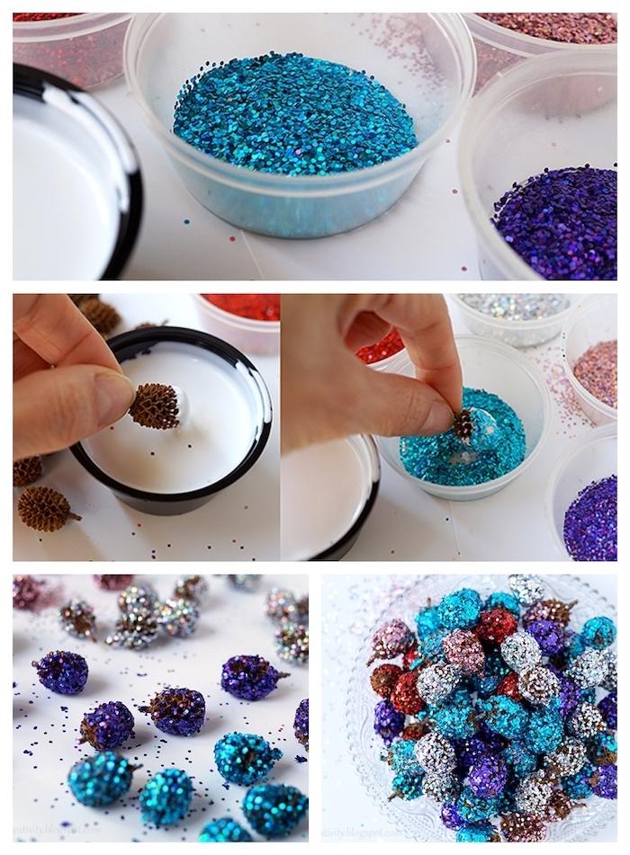 composition décorative centre de table noel en mini pommes de pin pailletées dans un bol en verre, fabriquer deco noel soi meme