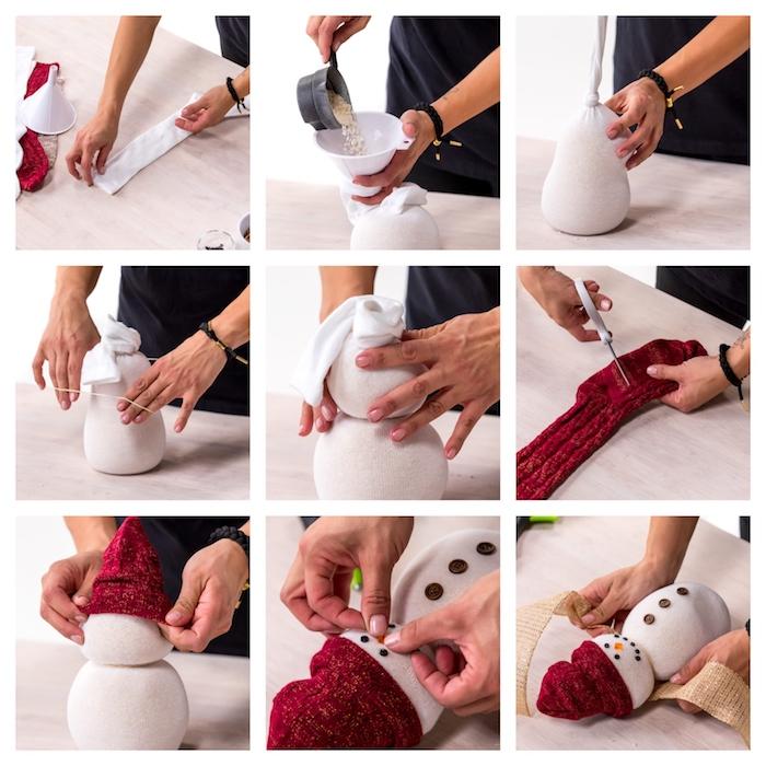 idee de bricolage de noel maternelle originale, bonhomme de neige en chaussette blanche diy avec chapeau chaussette rouge, deco strass, boutons et jute