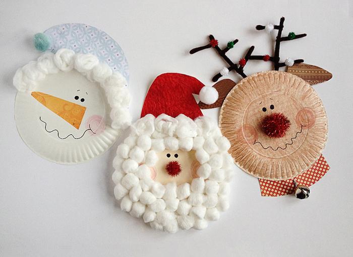 assiette de papier à motif rudolphe le renne, père noel et bonhomme de neige, creation diy enfant de noel, pompon rouge et barbe en coton