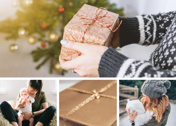 exemple emballage de cadeau de noel pour femme, papier cadeau pour Noël avec cordelette blanc et rouge, emballage cadeau en papier doré