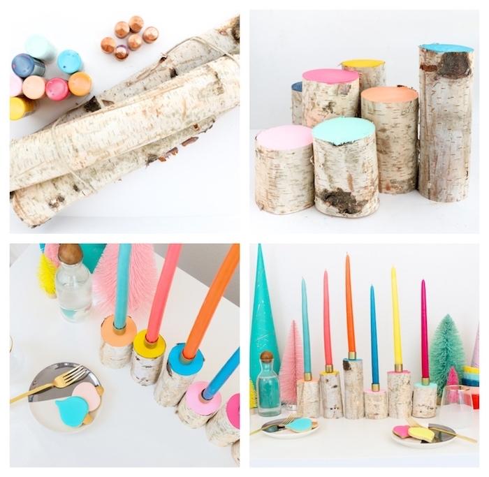 idée de décoration de noel à fabriquer en bois, tronc branche de bois coloré avec des bougies plantées colorées