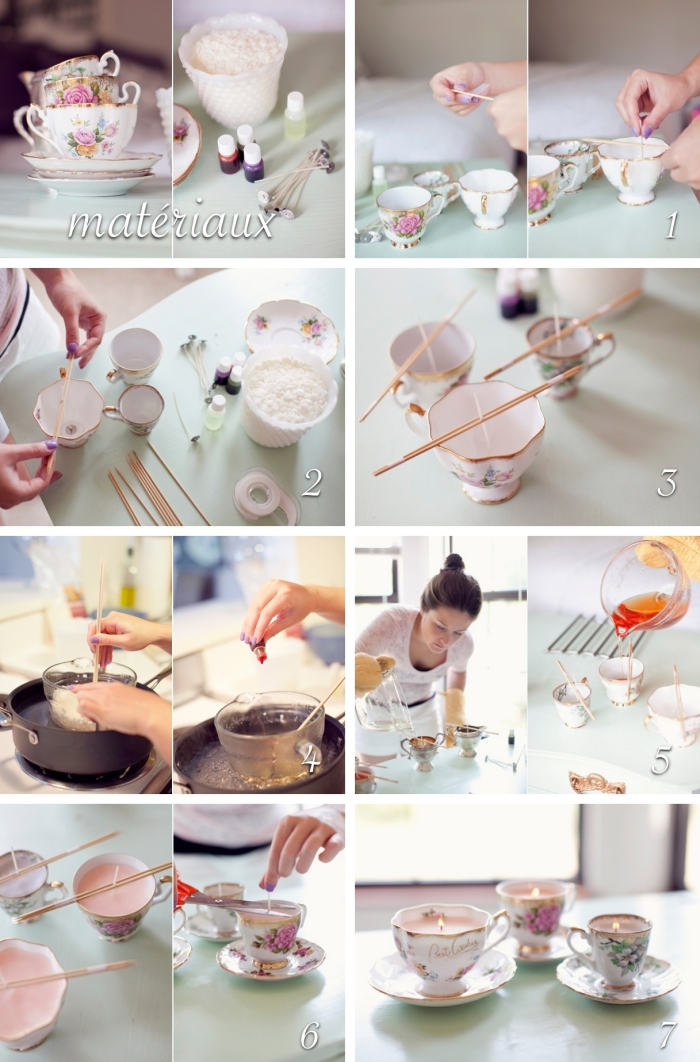 idee cadeau fille à réaliser soi-même, modèle de bougie vintage parfumée, comment faire une bougie à la maison